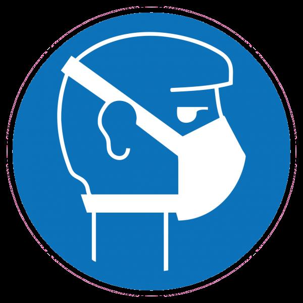 Aufkleber Atemschutzmaske Gebotszeichen / 9,5 x 9,5 cm / Sticker/ COVID-19