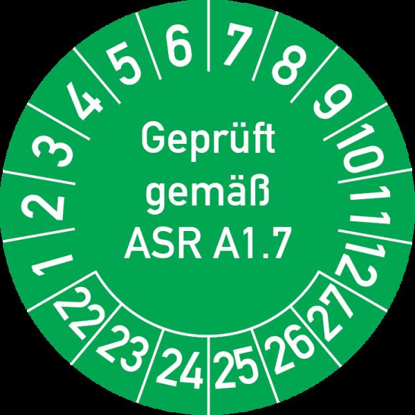 Geprüft gemäß ASR A1.7 Prüfplakette