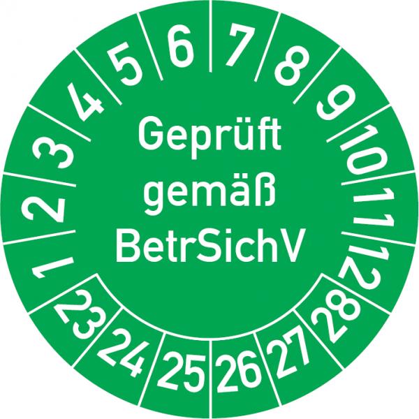 Geprüft gemäß BetrSichV Prüfplakette