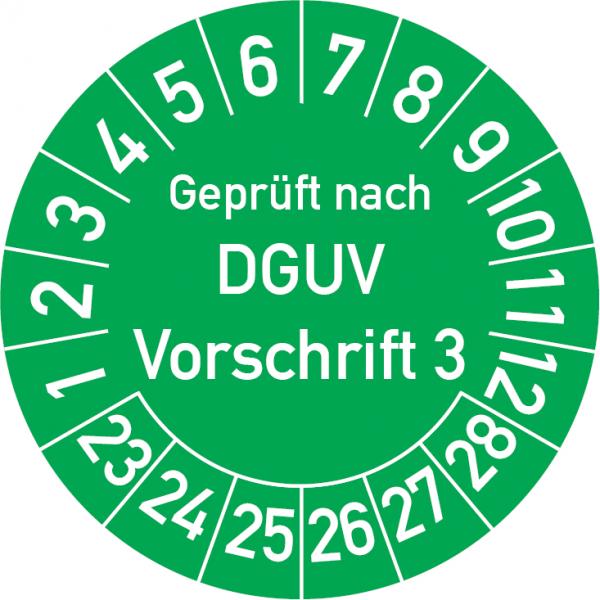 Geprüft nach DGUV Vorschrift 3 Prüfplakette