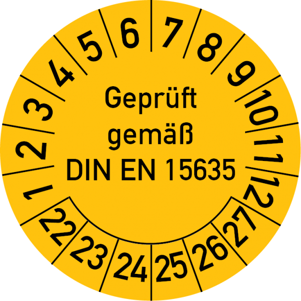Geprüft gemäß DIN EN 15635 Prüfplakette