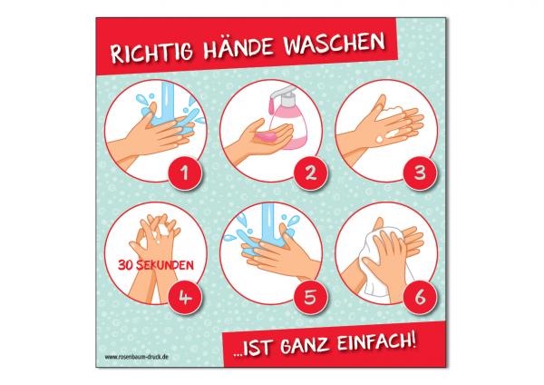 Aufkleber Richtig Hände waschen / 12 x 12 cm / Sticker / Für Schulen und zu Hause