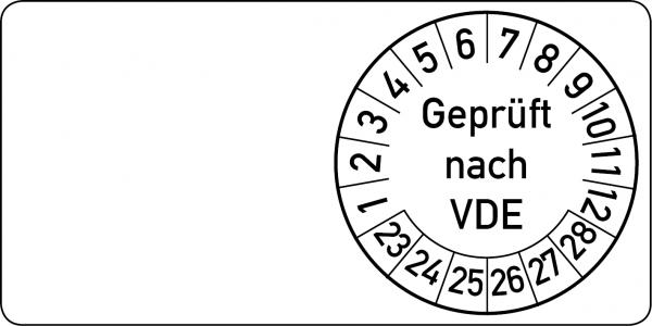 Geprüft nach VDE Kabelprüfplakette 60 x 30 mm