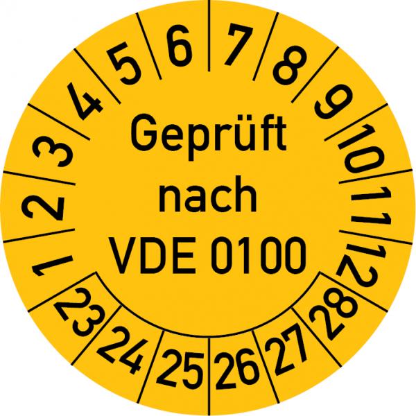 Geprüft nach VDE 0100 Prüfplakette
