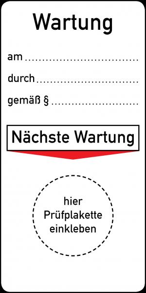 Wartung am durch gemäß Grundplakette 45 x 90 mm