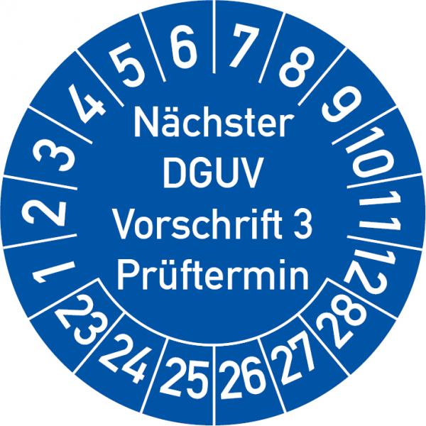 Nächster DGUV Vorschrift 3 Prüftermin Prüfplakette