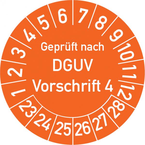 Geprüft nach DGUV Vorschrift 4 Prüfplakette