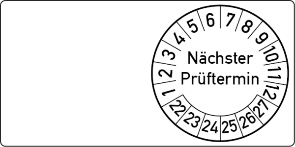 Nächster Prüftermin Kabelprüfplakette 60 x 30 mm