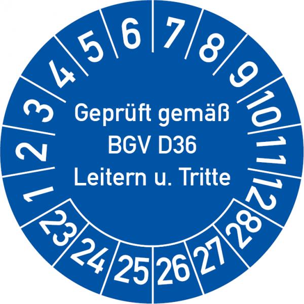 Geprüft gemäß BGV D36 Leitern und Tritte Prüfplakette