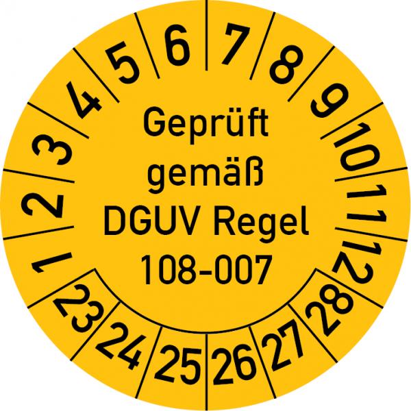 Geprüft gemäß DGUV Regel 108-007 Prüfplakette