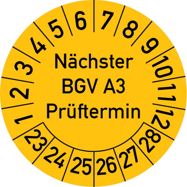 Nächster BGV A3 Prüftermin Prüfplakette