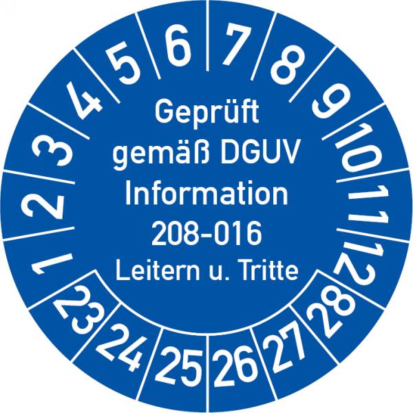 Prüfplakette Leitern und Tritte Geprüft gemäß DGUV Information 208-016