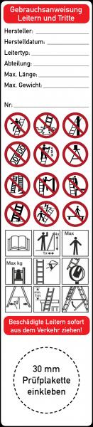 Gebrauchsanweisung Leitern und Tritte Grundplakette 35 x 160 mm