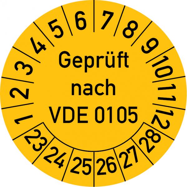 Geprüft nach VDE 0105 Prüfplakette