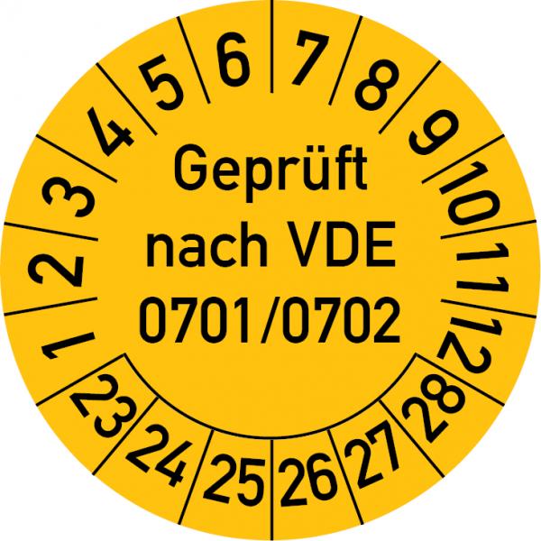 100 x Prüfplaketten Geprüft nach VDE 0701//0702 Prüfung Gelb 30mm //